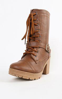 Lace Up Buckle Lug Sole Combat Boots TAN
