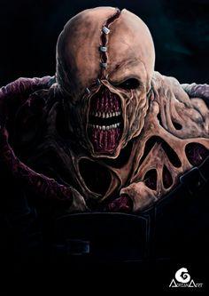 """""""Nemesis"""" by @ deviantart Resident Evil Nemesis, Resident Evil 3 Remake, Nemesis Tattoo, Resident Evil Collection, Primal Fear, Evil Games, Mortal Kombat Art, Evil Art, Horror Artwork"""