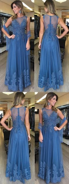 A-line Scoop Neck Tulle Floor-length Appliques Lace Modest Long Prom Dresses M1517#prom #promdress #promdresses #longpromdress #promgowns #promgown #2018style #newfashion #newstyles #2018newprom #eveninggown #aline #scoopneck #tulle #floorlength #appliques #lace #blue