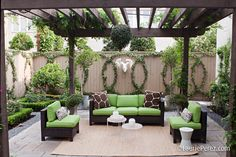 Circular vines--pretty awesome. Outdoor living, pergola, fence, outdoor furniture.