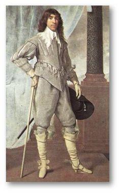 바로크 시대 남성의복의 전형이다. 상의에 붙은 스커트 길이가 매우 길고 바지도 풍성한 형태인 것은 17세기 중기의 의상으로 추측되게 한다. 여기서 주목할 것은 헤어스타일이다. '러브록'이라고 하는 이 헤어스타일은 이전까지 목 위로 높게 올라왔던 러플카라가 차츰 아래로 내려가고 플랫카라의 유행이 찾아오며, 머리카락의 한 쪽을 길러 늘어뜨리는 형태로 자리잡았다. 여성의 애교머리 처럼 곱슬거리는 머리카락이 늘어진 것이 남성 버전 애교머리라고 생각된다.