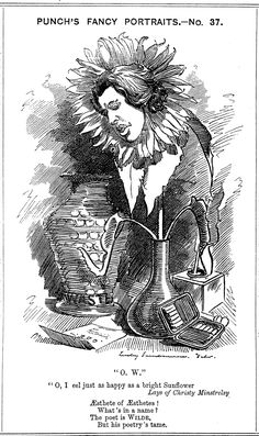 """A hand-drawn cartoon of Wilde, he face depicted in a wilted sunflower standing in a vase. His face is sad and inclined towards a letter on the floor. A larger china vase, inscribed """"Waste..."""" is placed behind him, and an open cigarette case to his left. Oscar Wilde, Punch Magazine, Aesthetic Movement, Aesthetic Style, Language Of Flowers, World Of Books, Playwright, Cartoon Shows, Wood Engraving"""