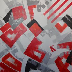 Técnica mixta con acrílico sobre lienzo. 100 x 100 cm