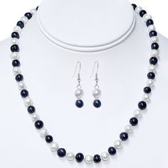 """18"""" Blue  White 7-8mm Freshwater Pearl Necklace Earrings Set - Freshwater Pearl Necklaces, Pearl Jewelry, Jewelry Necklaces, Beaded Necklace, Necklace Designs, Earring Set, Blue And White, Bling, Jewels"""