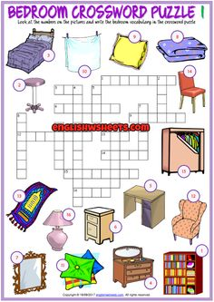 Bedroom Crossword Puzzle ESL Printable Worksheets