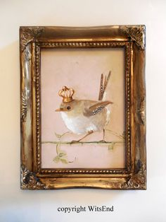 'A FAIRY PRINCESS'.Wren Crown painting original baby Fairy wren bird art by 4WitsEnd, via Etsy
