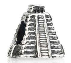 TEDORA MAYA PYRAMID MEXICO BEAD 925 SILVER CHARMS FIT EUROPEAN BEADS S 382
