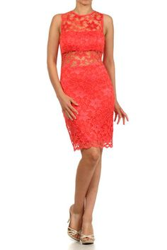 Lace See Through Along Neckline Short Party Cocktail Dress Feature Underneath Bust Line