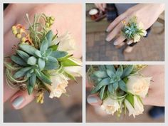 Succulent Flower Ring by angelasbellaflora: Green & Cream. Baby succulents, spray roses, scabiosa pod bits & pieris heather bud. #Wedding #Flower_Ring #Succulent