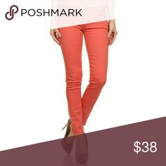 Coral Skinny Denim Jeans Solid basic color skinny jeans  5 pocket classic 96% Cotton 4% Spandex  TTS Jeans Skinny