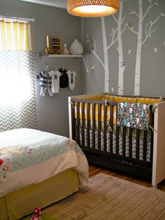 Gender neutral shared room. Mimic this crib with IKEA Hack. Love this crib... can totally do on my own!