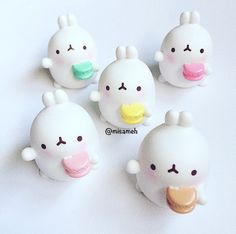 Molang Toy Figure Charm Keychain . Chibi Kawaii Cute White Bunny Rabbit Animal Dessert Macaron Cake Tea Strawberry Cookie Food Sweets Carrot Bag