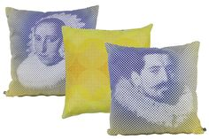 Frans Hals MAN & WOMAN pillows and Graphic Circles pillow. Yellow and blue combinations.