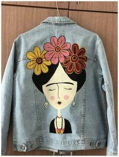 Frida Kahlo painted jeans jaket - Best Sewing Tips Painted Denim Jacket, Painted Jeans, Painted Clothes, Diy Clothes Jeans, Diy Jeans, Denim Kunst, Trend Council, Jean Diy, Denim Ideas