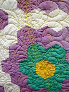 """close up, vintage hexagon quilt, in the """"Quilt As Desired"""" exhibit by Mary Kerr, posted at Canton Village Quilt Works"""