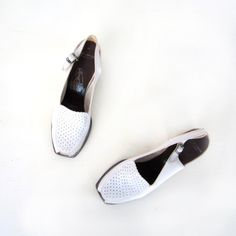 1940 Vintage Shoes | 1940s White Shoes / Peeptoe Shoes / Vintage 40s Shoes / Size 9 AAA