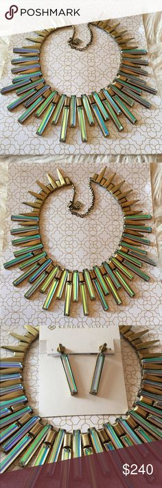 Kendra Scott Antique Brass Kaplan necklace Fabulous Kendra Scott Kaplan necklace in Dichroic glass and antique brass with adjustable clasp. Kendra Scott Jewelry Necklaces