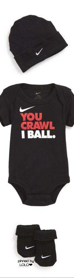 d9333fb17 Nike 'You Crawl, I Ball' Bodysuit, Booties & Cap (Baby Boys)   Nordstrom
