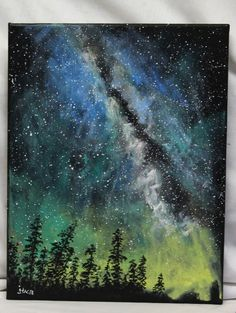 """Milky Way painting on canvas, 11"""" x 14"""" stretched canvas, original acrylic painting on canvas, unframed art on canvas, cosmic sky, night sky by ThisArtToBeYours on Etsy"""