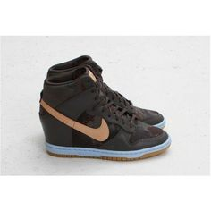 LIBERTY X NIKE DUNK SKY HI (MIDNIGHT FOG) ❤ liked on Polyvore featuring nike