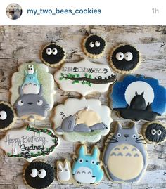 Cute Snacks, Cute Desserts, Cute Food, Royal Icing Cookies, Sugar Cookies, Magic Recipe, My Neighbor Totoro, Cute Cookies, Chocolate Factory