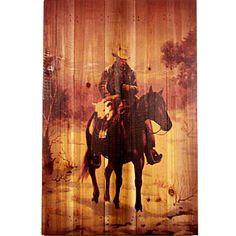 Cowboy and Calf Rustic Western Decor Wood Art 16x24