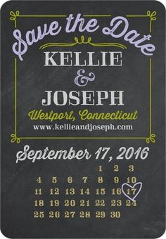 Sweet Chalk - Save the Date Magnets - Sarah Hawkins Designs - Bay - Green : Front