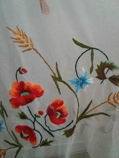 Vintage 1960s-1970s handmade curtain / 60S 70S floral