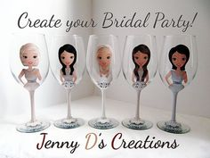 Items similar to Create a Character Wine Glasses, Wedding Wine glasses, Custom wine glasses, Bridesmaid Wine Glasses,Personalized Wine Glasses on Etsy Bridesmaid Wine Glasses, Wedding Wine Glasses, Custom Wine Glasses, Bridesmaid Gifts, Purple Wedding, Dream Wedding, Bridal Shower Planning, Wedding Cupcakes, A Boutique