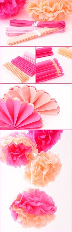 How to Make Tissue Paper Flowers Four Ways Flower Crafts, Diy Flowers, Diy Paper, Paper Crafts, Deco Baby Shower, Tissue Paper Flowers, Ideias Diy, Festa Party, Ideas Para Fiestas