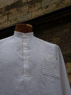 """pánská košile \""""vráska asymetrická\"""" bílý len velikost na přání Jitka Kellerová Chef Jackets, Fashion, Moda, Fashion Styles, Fashion Illustrations"""