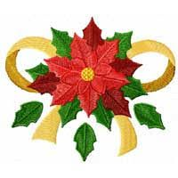 Free Christmas Machine Embroidery Design: Poinsettia with Ribbon Christmas Quilt Patterns, Christmas Embroidery Patterns, Free Machine Embroidery Designs, Machine Embroidery Projects, Embroidery Software, Advanced Embroidery, Quilt Patterns Free, Christmas Poinsettia, Christmas Decoupage