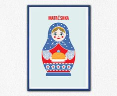 Matryoshka poster. A3 Poster print. From Russia With Love. Living room decor. Girls Room. Vintage. Traditionally  Russian doll on Etsy, $18.00
