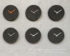 Felt clock for LEFF Amsterdam  -          materials: 60% recycled PET  -      designer: Sebastian Herkner  -      www.leffamsterdam.com