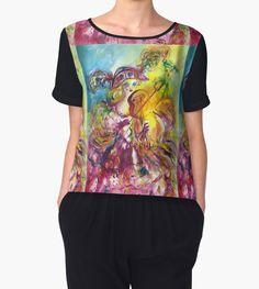 ARLECCHINA  VIOLINIST / Venetian Carnival Night Woman Chiffon Top by Bulgan Lumin (c) #masquerade #mask #beauty #music #fineart #violinist #musician #cat