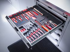 a neat drawer cabinet from Bott Ltd Car Storage, Garage Storage, Tool Storage, Workshop Storage, Garage Workshop, Garage Interior, Mechanic Tools, Garage Makeover, Drawer Organisers