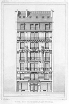 Elevation of a residential building on rue de Rennes, Paris