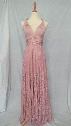 LilZoo Full Ballroom Length Convertible Infinity MultiWay Wrap Dress in Dusty Rose Pink with Lace Overlay Skirt and Free Bandeau Rose Pink