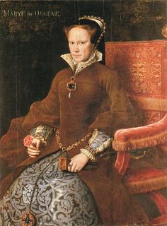 Antonis Mor ~ Mary Tudor ~ 1554 ~ Prado ~  Antonis Mor was sent to England to paint Mary Tudor and it is possible it was painted as a gift to Philip when he was in Spain. Mary is holding a flower (not a Tudor rose) as a love token. The painting does not look flattering but we do not know what she looked like. She would eventually marry Philip of Spain.