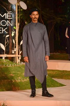 A long nigh neck grey #kurta top with black fitted #pyjama by #AntarAgni