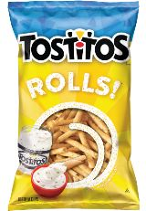 TOSTITOS® Original Restaurant Style Tortilla Chips. These are absolutely delicious dipped in Fritos mild cheddar cheese dip. OMG!! I hope they never discontinue these.