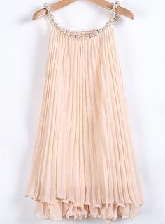 Apricot Bead Pleated Chiffon A Line Dress - Sheinside.com Mobile Site
