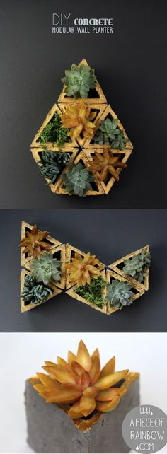 Easy to make DIY concrete geometric planters | A Piece of Rainbow