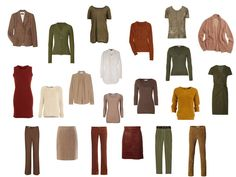 The Vivienne Files: A warm brown, green and rust capsule wardrobe based on a painting by Klimt - I love these colors. I could easily wear exclusively these plus navy. Capsule Wardrobe Mom, Mom Wardrobe, Capsule Outfits, Fashion Capsule, Fall Wardrobe, Capsule Clothing, Holiday Wardrobe, Travel Wardrobe, Wardrobe Ideas