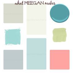That's my palette!!  White walls and furniture, grey and aqua doors and pillows. Aqua, lime green and pink/coral (NOT ORANGE CORAL) are my accent colors!!