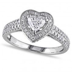 Heart Shaped Halo Diamond Engagement Ring 14k White by Allurez
