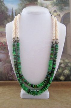 Turquoise and Pearl Necklace with Earrings  Tx17  by dkdesigns8238, $67.50