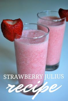 Strawberry Julius copy-cat recipe from SomewhatSimple.com For Primal or paleo, switch milk to coconut and use a natural sweetner,