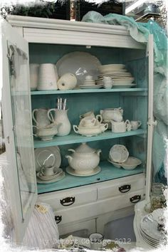 All sorts of white dishes.and more white dishes! Painted Hutch, Painted Furniture, Distressed Furniture, Distressed Hutch, Furniture Ideas, Painted Dressers, Furniture Refinishing, Furniture Redo, Repurposed Furniture
