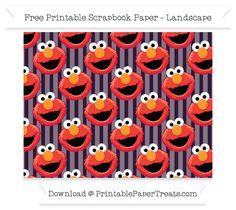 Free Landscape Dark Purple Striped Large Elmo Head Pattern Paper - Sesame Street